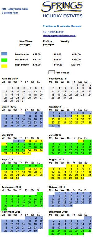 Lakeside Springs Tariffs